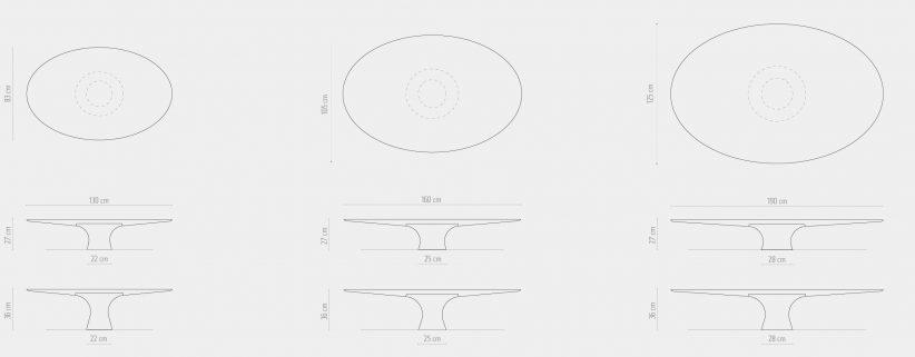 Afmetingen ovale salontafels Angelo M